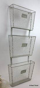 3 tier primitive iron metal wall mounted basket file With 3 tier vertical letter holder