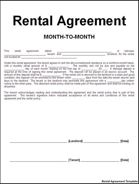 printable sample rental lease agreement templates