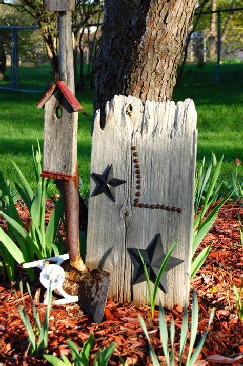shovel turned  garden art trash  treasure