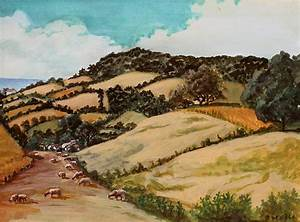 Dorset Landscape With Sheep England Painting by Ethel Vrana