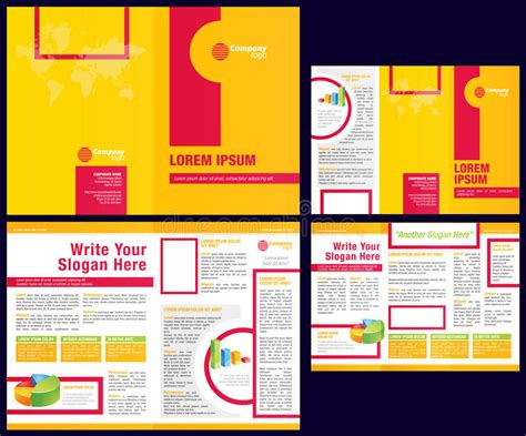 Vector Business Brochure + Tri Fold Flyer Template Stock