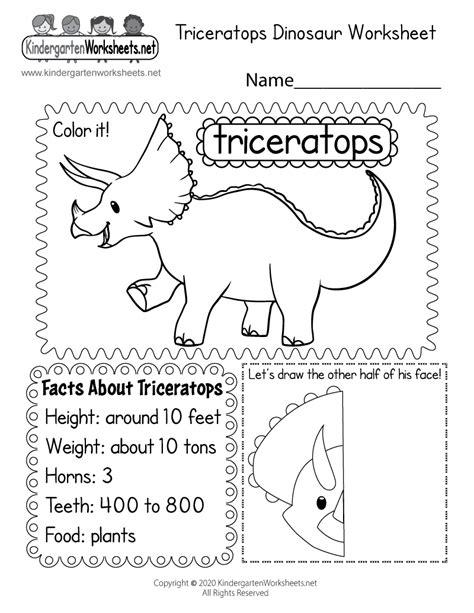 dinosaur worksheet  kindergarten learning worksheet