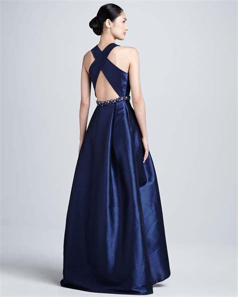 ml monique lhuillier racer front beaded waist gown  blue