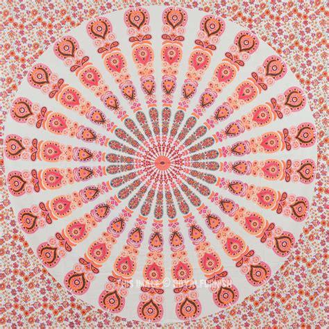 white orange mixed mandala tapestry hippie boho wall hanging bedspread royalfurnish com