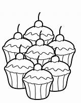 Cupcake Coloring Printable sketch template