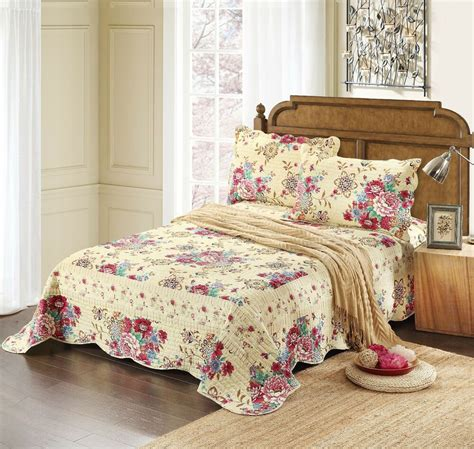 Floral Bedspreads by All 3pc Cotton Floral Pink Green Awakening