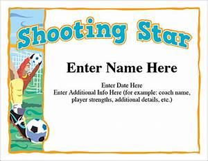 shooting star soccer certificate free award certificates With shooting certificate templates