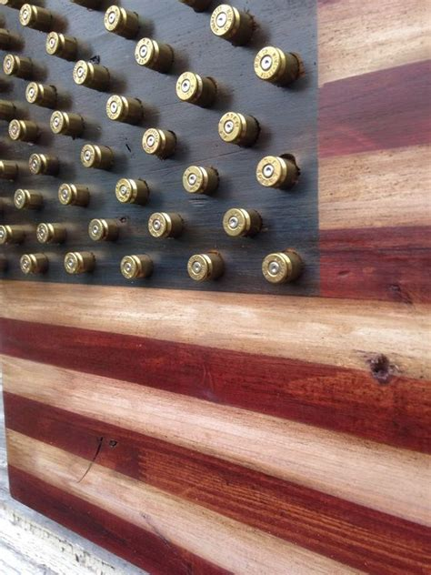 military  amendment wood american flag  brass bullet