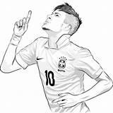 Neymar Desenho Football Kleurplaat Messi Coloriage Coloring Soccer Ronaldo Player Colorir Psg Juventus Imprimir Sheet Voetbal Roblox Fussball Ausmalbilder Negro sketch template