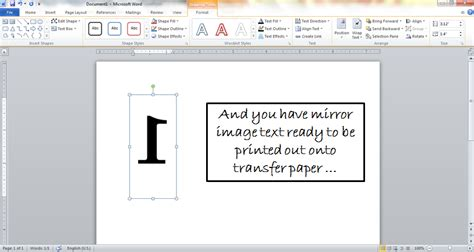 mirror image text  microsoft word