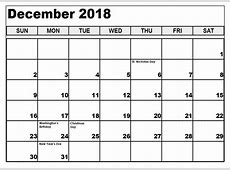 Printable December 2018 Calendar with Holidays – Free