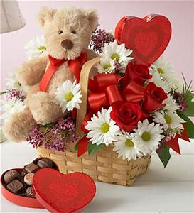 best valentine flower in basket with teddy bear and heart ...