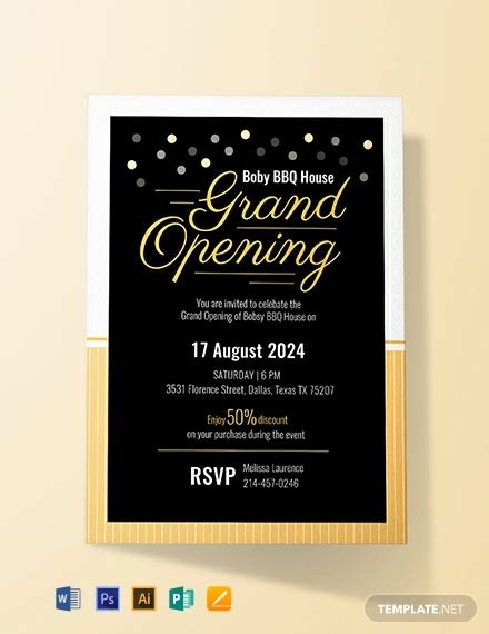 grand opening invitation card template word psd