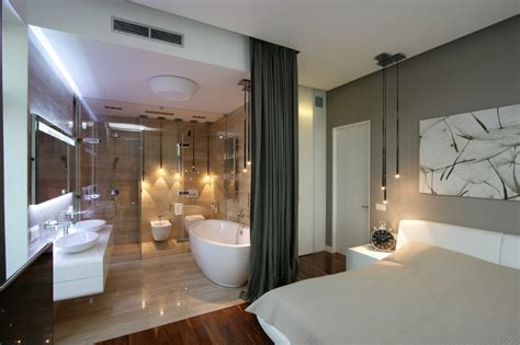 Modern Bathroom And Bedroom by Bedrooms With Attached Open Bath