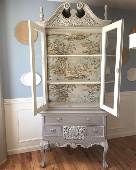 french country toile hutch   french decorating