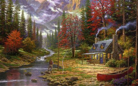 thomas kinkade  good life painting mountain river