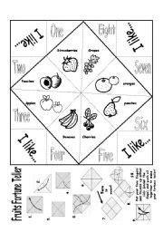 english worksheet fruits fortune teller  images