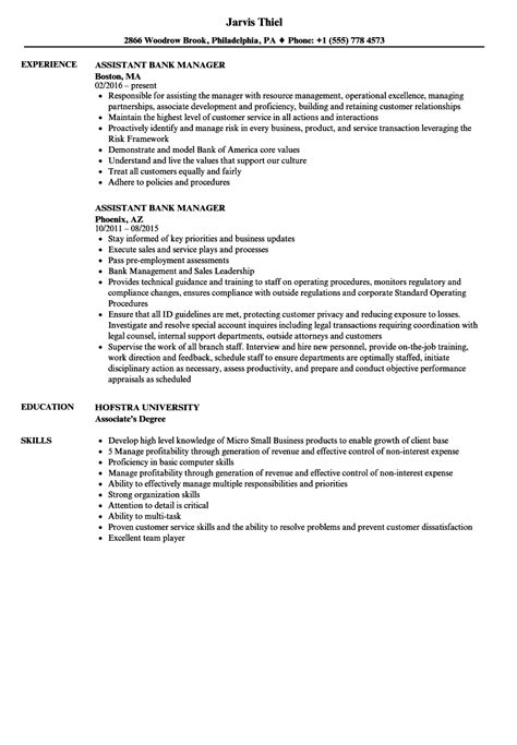 Bank Manager Resume by Assistant Bank Manager Resume Sles Velvet