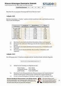 Mittelwert Berechnen Statistik : studeo aufgabensammlung deskriptive statistik ein merkmal ~ Themetempest.com Abrechnung