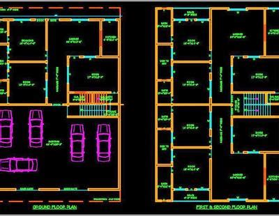 multi family residential building  autocad architecture  dwg file  option