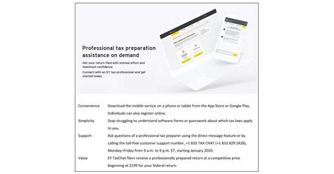 Chat and network with with other professionals in your field. TaxChat™, powered by EY, offers tax preparation directly ...