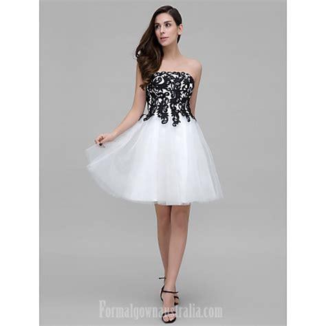 Australia Cocktail Party Dress White Aline Strapless
