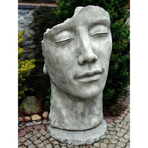 Gartenfigurstatue Gesicht Mann Inkl Platte Zur Montage