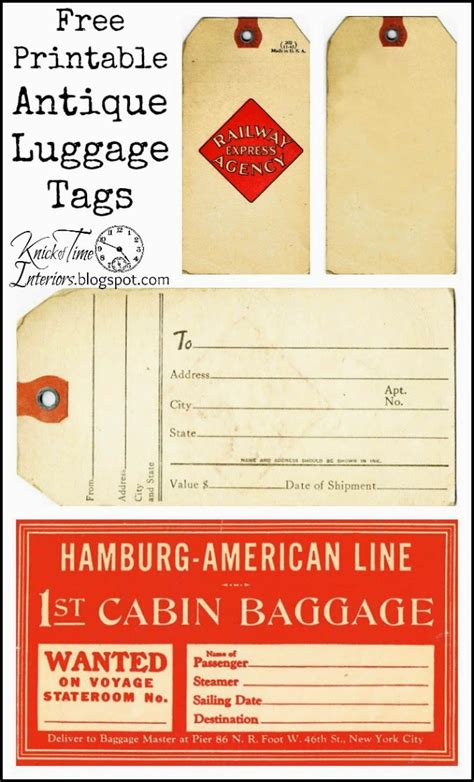 antique graphics wednesday vintage luggage tags knick