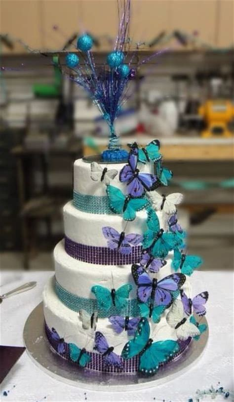purple  teal wedding cake hy vee cake butterflies