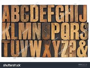26 letters of english alphabet question mark and With printing letters on wood