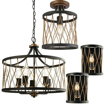industrial black bronze cage lighting matching wall