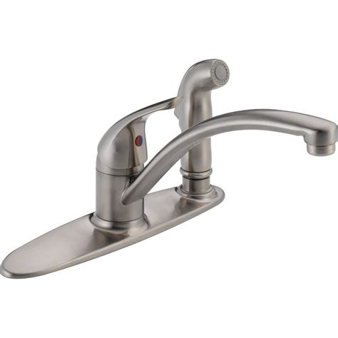 delta stainless steel kitchen faucet delta 13900lf ss brilliance stainless steel one