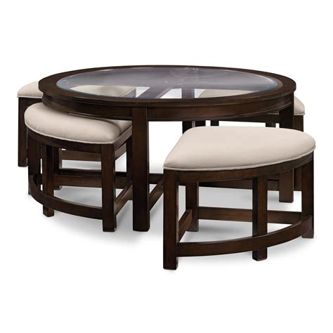Four Corners Cocktail Table W 4 Benches  Merlot Value
