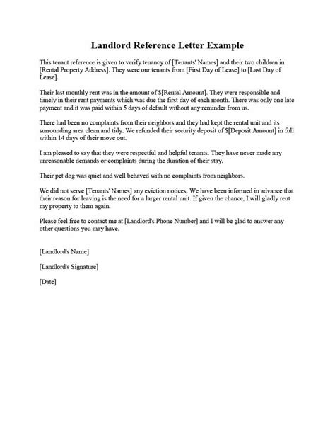 tenant recommendation letter landlord reference letter sles templates form 29047