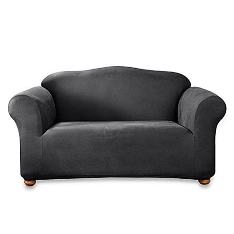 Black Loveseat Cover by Stretch Leather Black Loveseat T Cushion Slipcover Bed