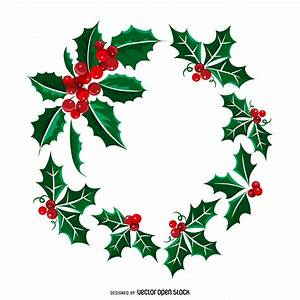 Christmas mistletoe wreath illustration - Free Vector
