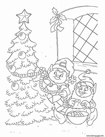 Coloring Christmas Tree Elf Pages Decorating Elves