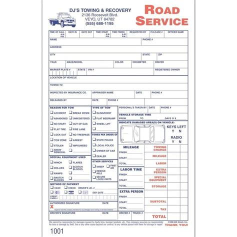 towing service invoice towing service invoice invoic