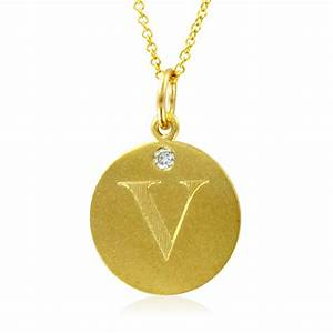 initial necklace letter v diamond pendant with 18k yellow With gold pendant letter v