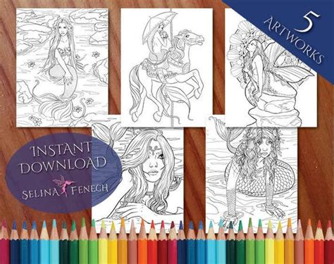 Romantic Mythical Mermaids Coloring Page/digi Stamp