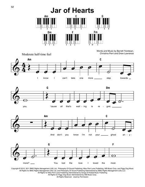 kunci piano jar of heart jar of hearts sheet music by christina perri super easy piano 179352