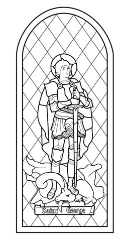 saint george stained glass coloring page  printable coloring pages
