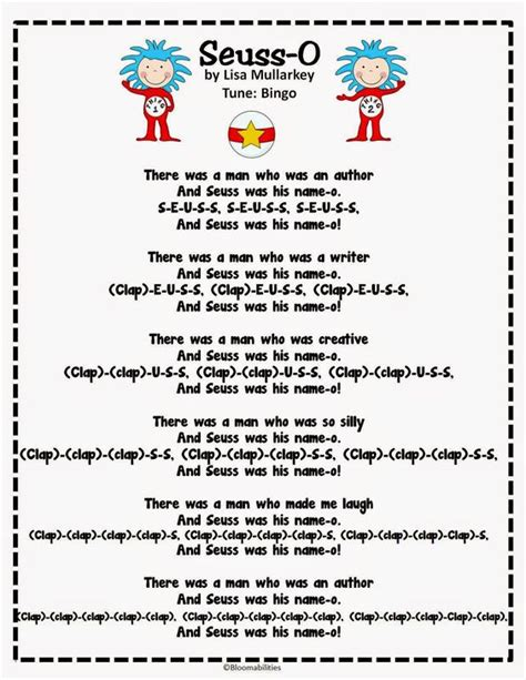 dr seuss songs preschool dr seuss song to the tune of bingo for the month 825