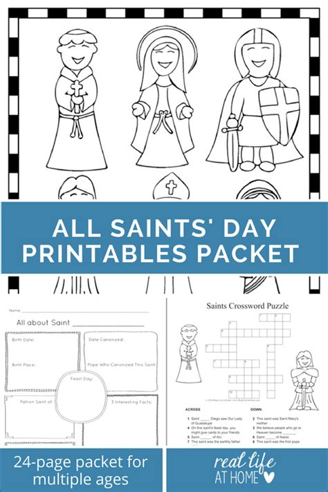 saints printables and worksheet packet all saints day 159 | All Saints Day Packet web