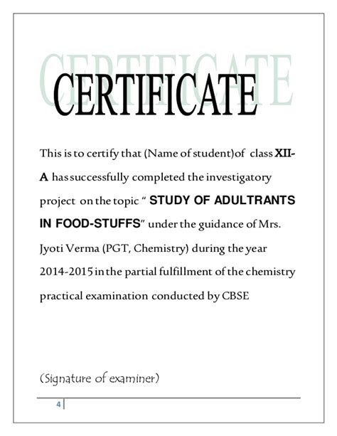 chemistry investigatory project adultration  food stuffs