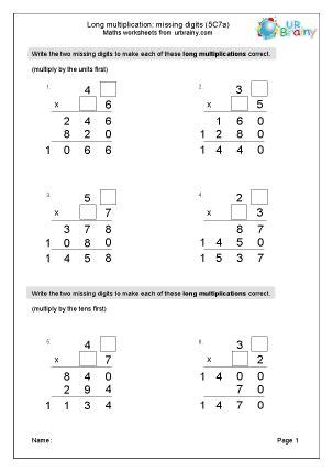 long multiplication missing digits ca