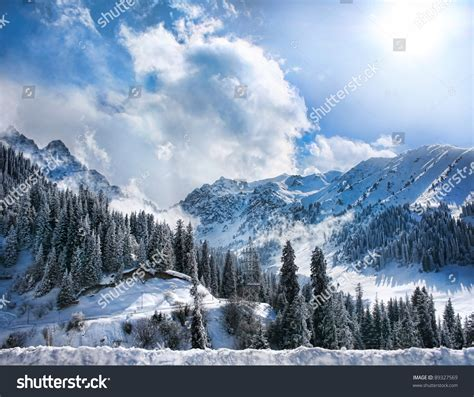 Winter Snowy Mountains Valley Fog Sun Stock Photo 89327569