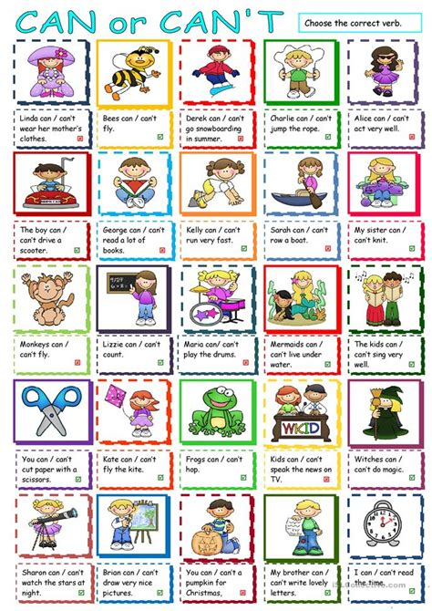 Can Or Can't Worksheet  Free Esl Printable Worksheets Made By Teachers