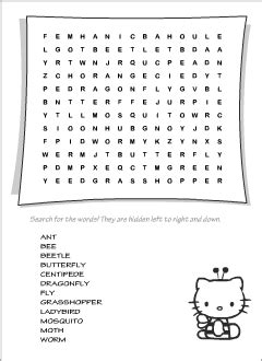 Insects vocabulary for kids learning English | Printable