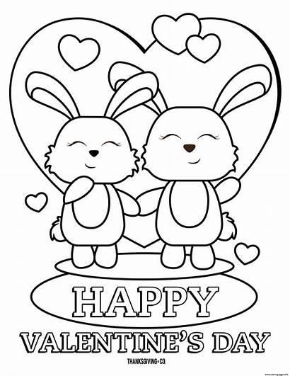 Coloring Valentines Happy Printable Bunnies